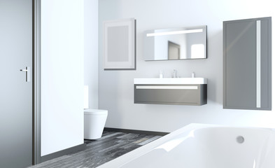 Modern bathroom including bath and sink. 3D rendering. Empty picture