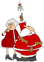 Illustration depicts Santa pointing to some mistletoe that he and Mrs. Claus are standing under.