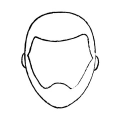 man with beard avatar icon image vector illustration design  black sketch line