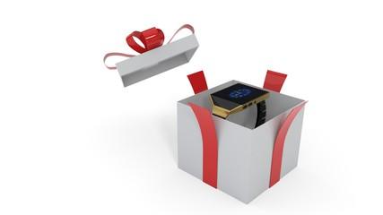 Smart watch surprise in gift box, 3d rendering