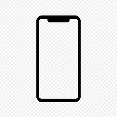 Vector Outline Icon of Phone X Isolated on Transparent Light Background. Mobile, Smartphone, Phone. Front View. Vector Illustration.