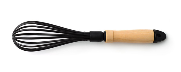 Top view of black kitchen whisk