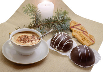 holiday table with coffee and sweets