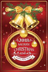 Merry Christmas and Happy New Year 2018 written in. Greeting card with red background, designed for the winter holidays season.