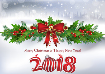 Merry Christmas and Happy New Year 2018 written in. Greeting card for the winter holidays season.