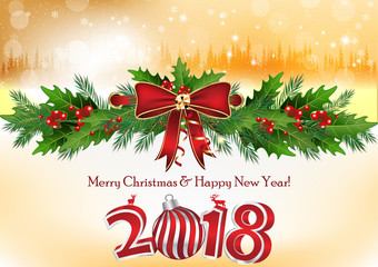 Happy New Year 2018. Background / greeting card for the winter holidays season.