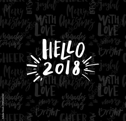 Greeting card with calligraphy hello 2018 template for greeting card with calligraphy hello 2018 template for congratulations housewarming posters invitations stopboris Choice Image