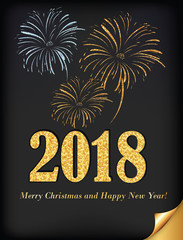Happy New Year 2018. Greeting card with fireworks on a dark background, designed for the winter holidays season.