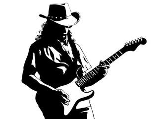 Musician with guirar in blues style on white background Fotomurales