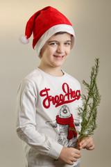 Cute little boy in Santa Hat