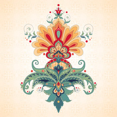 Vector illustration. Beautiful oriental traditional  paisley flower. Simple seamless background. Any element can be used separately for your design.