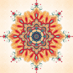 Vector background with a round ornament. Beautiful floral oriental pattern in vintage style. Simple seamless background.