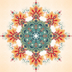 Vector background with a round ornament. Beautiful floral oriental pattern in vintage style. Seamless simple delicate decor.