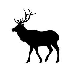 big deer vector illustration  black silhouette  profile