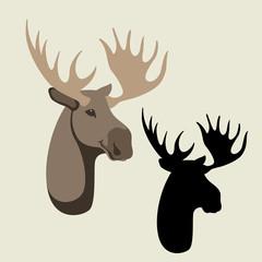 deer  head vector illustration flat style black silhouette