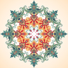 Vector background with a round ornament. Beautiful floral oriental pattern in vintage style.