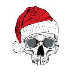 Portrait of a skull in a santa claus hat. Can be used for printing on T-shirts, flyers, etc. Vector illustration