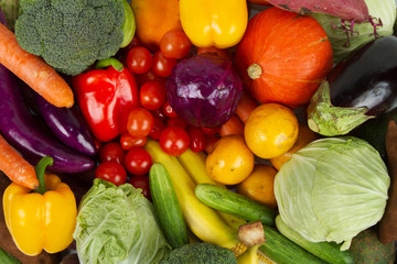 Fresh Fruits and Vegetables mixed together for healthy eating and grocery produce background, Top view