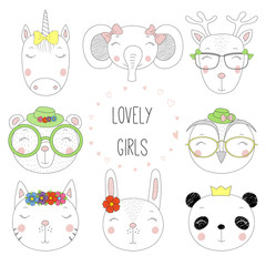 Set of hand drawn cute funny portraits of cat, bear, panda, bunny, reindeer, unicorn, owl, elephant girls, with text. Isolated objects on white background. Vector illustration. Design concept for kids