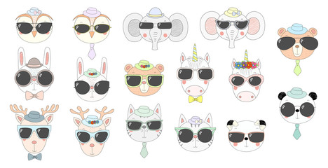 Big set of hand drawn cute funny portraits of cat, bear, panda, bunny, reindeer, unicorn, owl, elephant in sunglasses. Isolated objects on white background. Vector illustration. Design concept kids