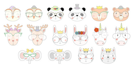 Big set of hand drawn cute funny portraits of cat, bear, panda, bunny, deer, unicorn, owl, elephant in different glasses. Isolated objects on white background. Vector illustration. Design concept kids