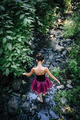 Rear view of girl in ballerina outfit walking in creek in the forest