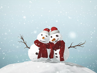 3D illustration of Snowman Christmas concept with present boxes and ornaments in a snowy day.