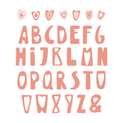 Hand drawn cute latin alphabet in Scandinavian style, in pink, with hearts. Make your own Valentine Day lettering. Isolated letters on white background. Vector illustration.