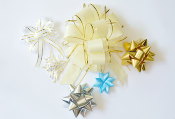 colorful ribbon bow for decoration gift box on white background