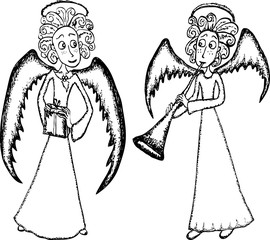 Angels with a present and a trumpet