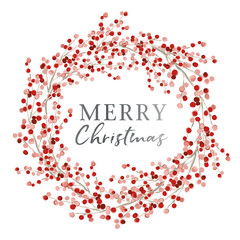 Red berry wreath with season greeting Merry Christmas. Vector illustration on the white background. Winter holiday.