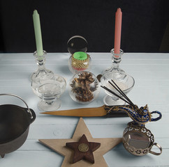 Wiccan altar for Yule