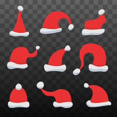 Set of Santa Claus Hats on black transparent background. Winter Merry christmas and new year celebration vector illustration.
