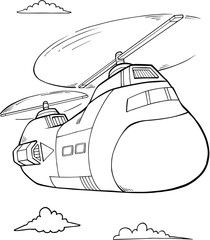 Canvas Prints Cartoon draw Big Helicopter Vector Illustration Art