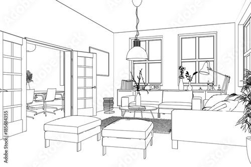 zeichnung wohnzimmer zdj stockowych i obraz w royalty