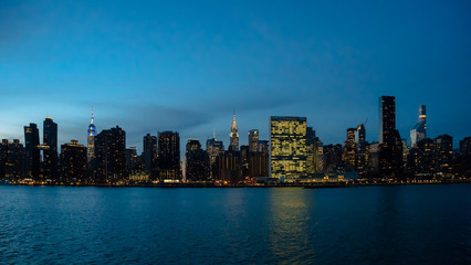 New York City Skyline during Blue hour with Empire State, Chrysler, United Nations Buildings