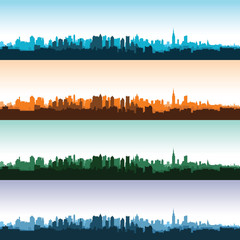 Set of city landscapes at different times of the day. Vector illustration