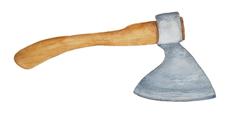 Axe. Symbol of achievement, power, victory, thunder. Shape, split, cut wood; harvest timber; weapon; ceremonial, heraldic symbol. Hand drawn watercolour illustration, isolated on white background.