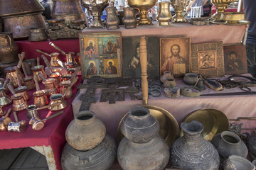 Yerevan, Armenia, September 17, 2017: Regional products at the market stand in Yerevan
