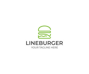 Line Burger Logo Template. Hamburger Vector Design. Fast Food Illustration