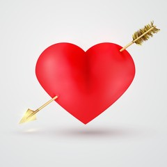 Glossy red heart pierced by  gold arrow.