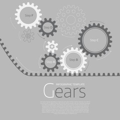 Vector infographic template with gears  on grey background