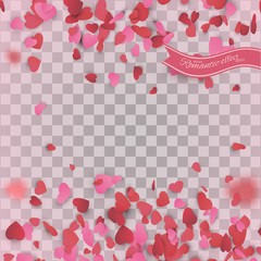 Heart confetti of Valentines petals falling on transparent background.