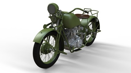 An old green motorcycle of the 30s of the 20th century. An illustration on a white background with shadows from on a plane.