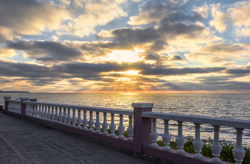 Sunset over the Baltic Sea. Svetlogorsk, Kaliningrad region. Russia