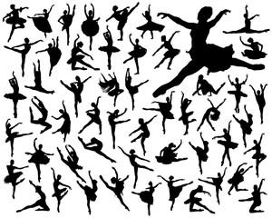 Black silhouettes of ballerinas on a white background