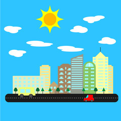 modern city with tall houses and skyscrapers on sunny summer day. Cityscape with road and cars. Skylines vector.
