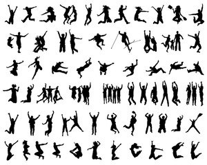 Silhouettes of people jumping on a white background