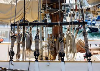 Traditional sailboat rigging. Various nautical knots.