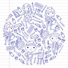 Children creativity Kindergarten, school art Boys and girls drawing and painting pictures Children art and design school